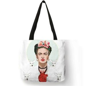 Frida Kahlo Large Tote Bag Image with Deer & Heart